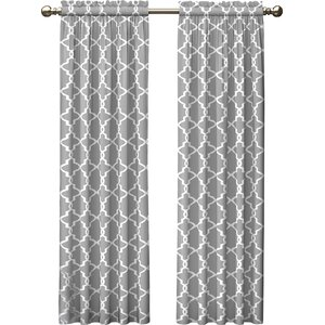 Kaiser Geometric Semi-Sheer Rod Pocket Curtain Panels (Set of 2)