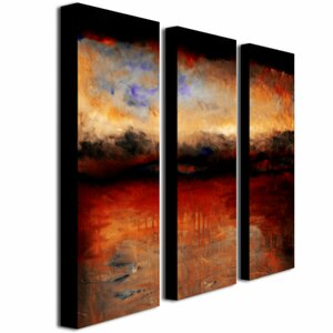Red Skies at Night by Michelle Calkins 3 Piece Painting Print on Canvas Set by Trademark Fine Art
