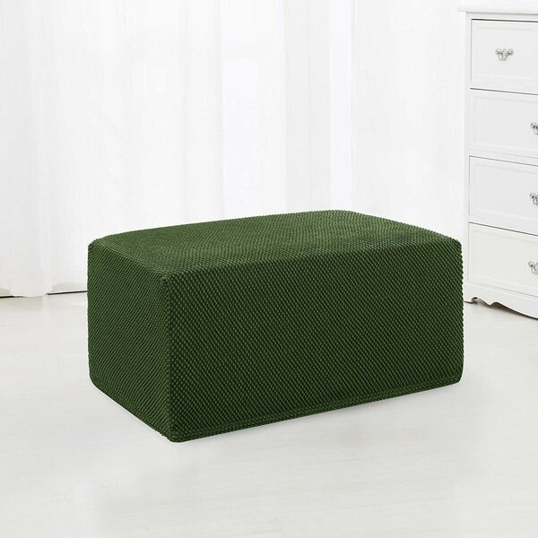 The Raised Dots Stretch Jacquard Box Cushion Ottoman Slipcover by Ebern Designs