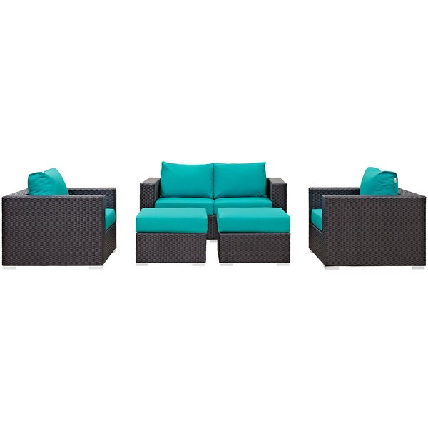 Brentwood 5 Piece Rattan Sofa Set with Cushions by Sol 72 Outdoor