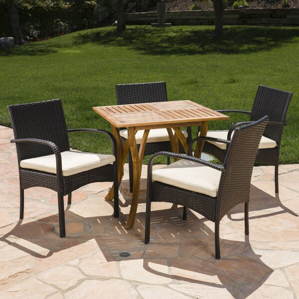 Gipson Outdoor Acacia Wood/Wicker 5 Piece Dining Set with Cushions by Ebern Designs