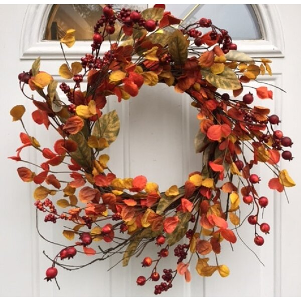 Harvest Spirits Wispy Fall Wreath by Charlton Home