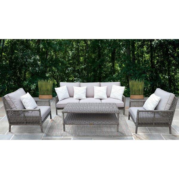 Jaylene 4 Piece Rattan Sofa Seating Group with Cushions