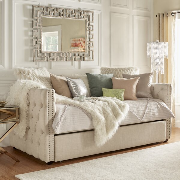 Full Scribner Button Tufted Daybed with Trundle by
