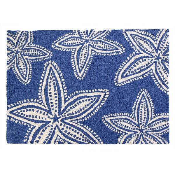 Starfish Navy Hooked Area Rug by Kate Nelligan
