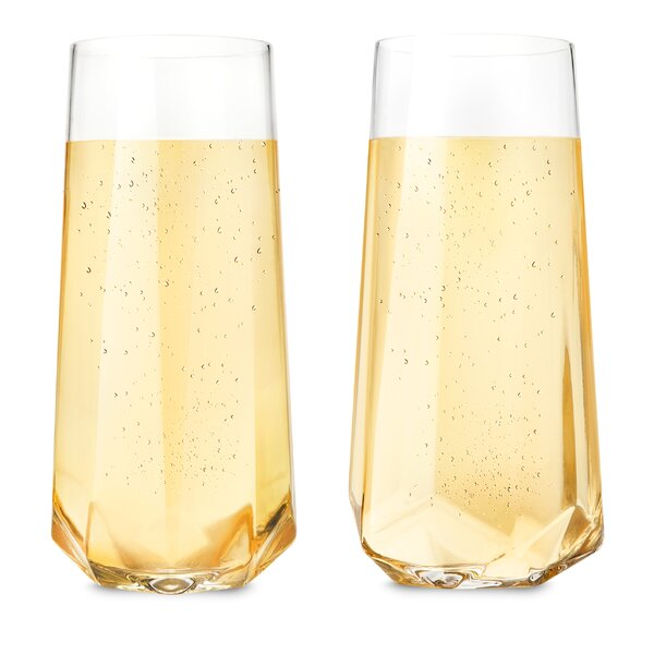 Abbie Faceted Crystal 10 Oz. Champagne Flute (Set of 2) by Langley Street