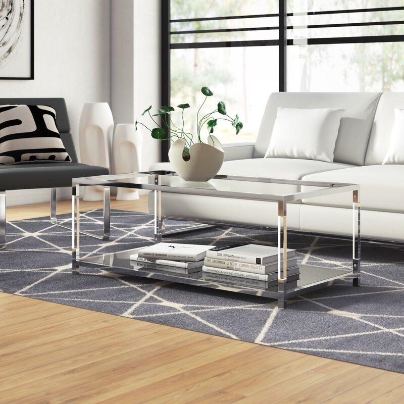 Orren Ellis Bullington Floor Shelf Coffee Table With Storage Reviews Wayfair