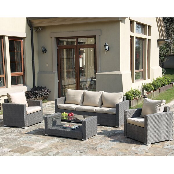 Rhiannon 4 Piece Rattan Sofa Seating Group with Cushions by Alcott Hill
