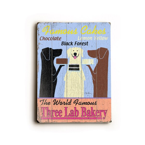 Three Lab Bakery Planked by Ken Bailey Vintage Advertisement on Wood by Artehouse LLC
