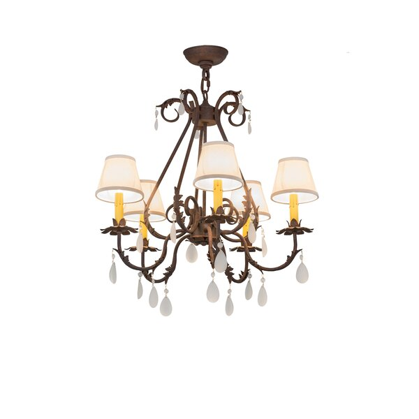 Greenbriar Oak 5-Light Shaded Geometric Chandelier By Meyda Tiffany