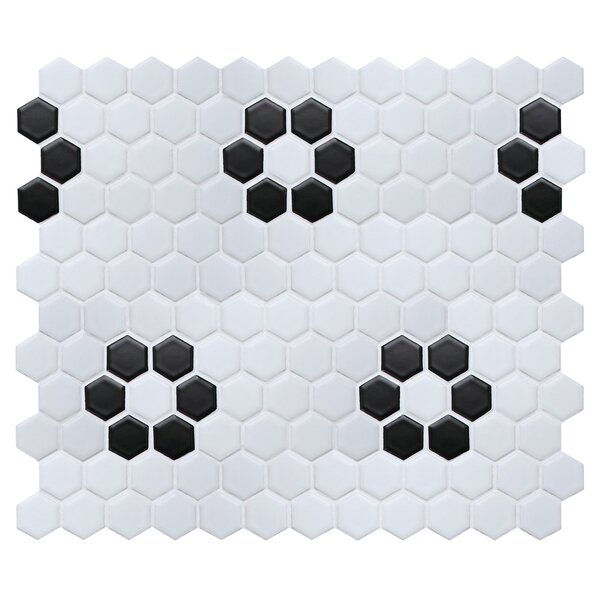 "Value Series Flower 1"" x 1 Porcelain Mosaic Tile in Matte White/Black by WS Tiles"