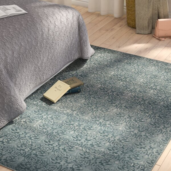 Boone Damask Blue Area Rug by Charlton Home