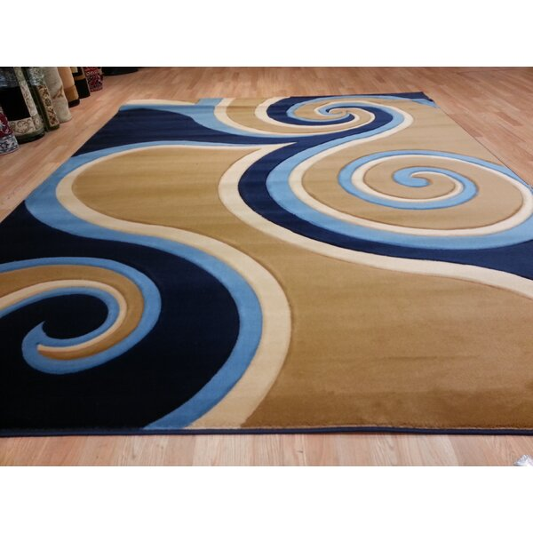 Hand-Carved Blue/Beige Area Rug by Rug Tycoon