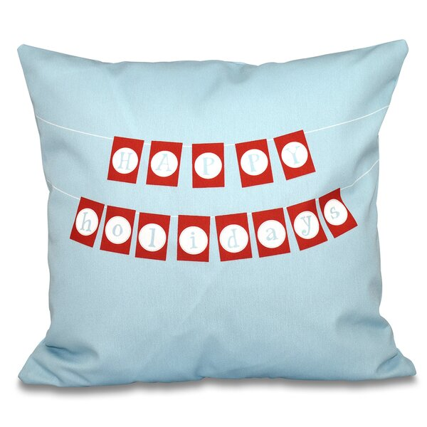 Clemmie Happy Holidays Outdoor Throw Pillow by Mercury Row