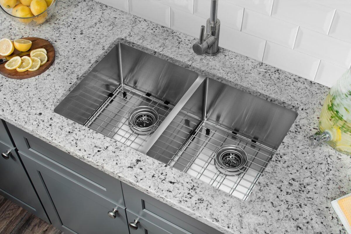 16 Gauge Undermount Kitchen Sink Soleil radius 16 gauge stainless steel 32 x 19 5050 double bowl radius 16 gauge stainless steel 32 x 19 5050 double workwithnaturefo