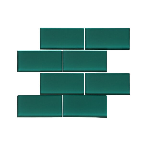 Premium Series 3 x 6 Glass Subway Tile in Glossy Dark Teal by WS Tiles