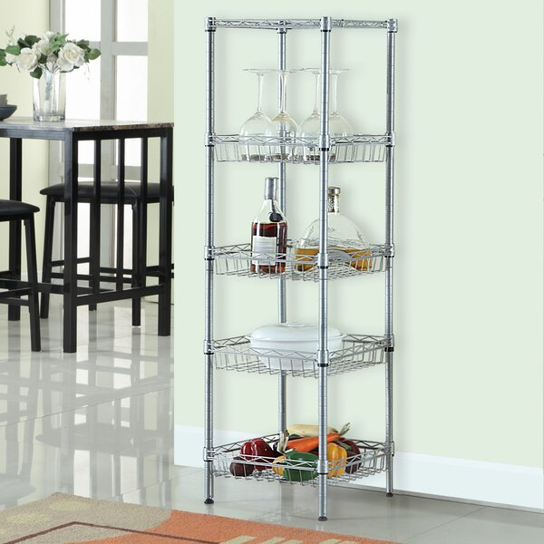 51.2 H x 13.4 W 5-Tier Wire Shelving Unit with Baskets by LANGRIA