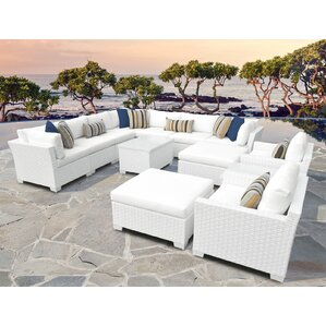Monaco Outdoor Wicker Patio 13 Piece Sectional Set With Cushions