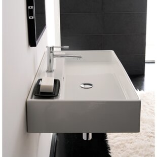 Best Reviews Teorema Ceramic 24 Wall Mount Bathroom Sink with Overflow By Scarabeo by Nameeks
