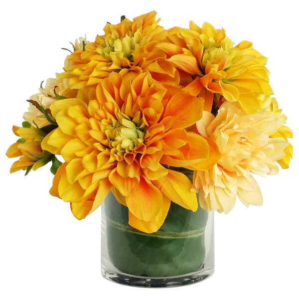 Artificial Silk Dahlia Floral Arrangements in Decorative Vase by RG Style