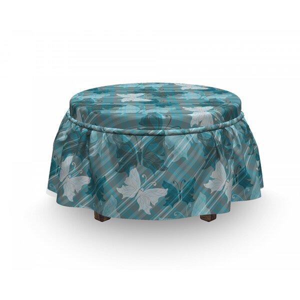 Grunge Butterfly Spring Season 2 Piece Box Cushion Ottoman Slipcover Set By East Urban Home