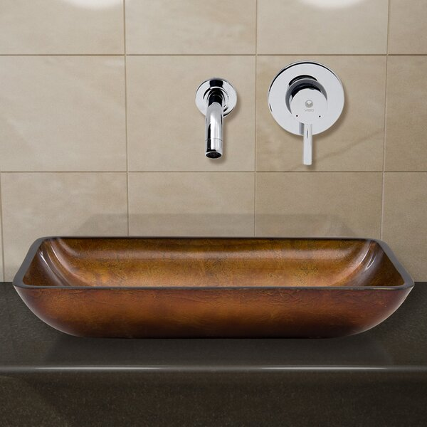 Russet Glass Rectangular Vessel Bathroom Sink with Faucet by VIGO