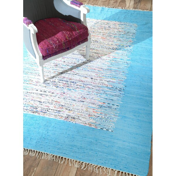 Munegu Talia Rag Hand-Woven Cotton Turquoise/Gray Area Rug by nuLOOM