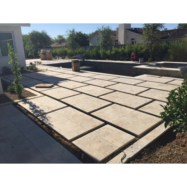 Nysa Tumbled Travertine Paver in Tan by QDI Surfaces