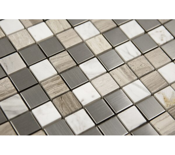 1 x 1 Mixed Material Mosaic Tile in Gray/White by Luxsurface