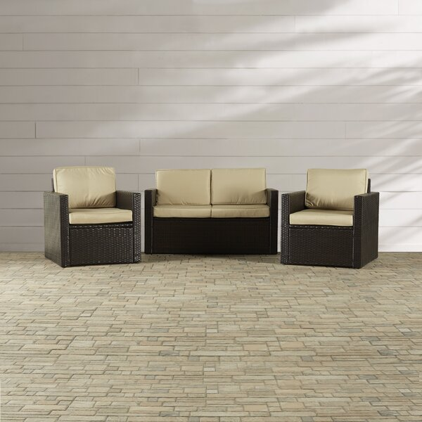 Belton 3 Piece Sofa Seating Group with Cushions by Mercury Row