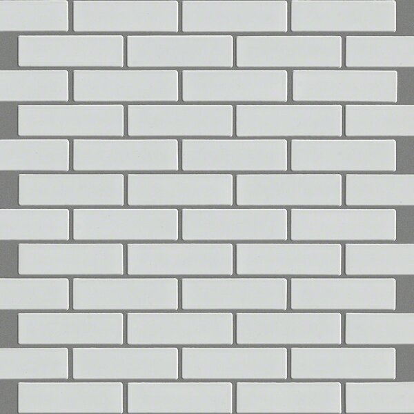 Sophisticated Mini Brick 1 x 2 Porcelain Mosaic Tile in White by Shaw Floors