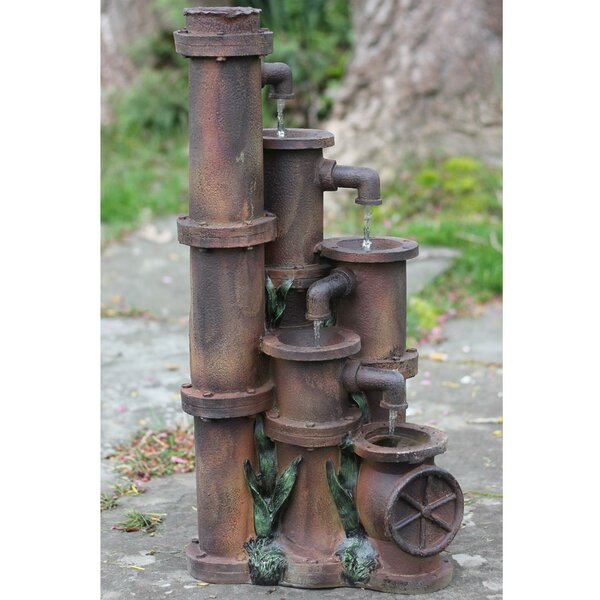 Resin Rusted Cascading Pipes Patio Garden Water Fountain by Northlight Seasonal
