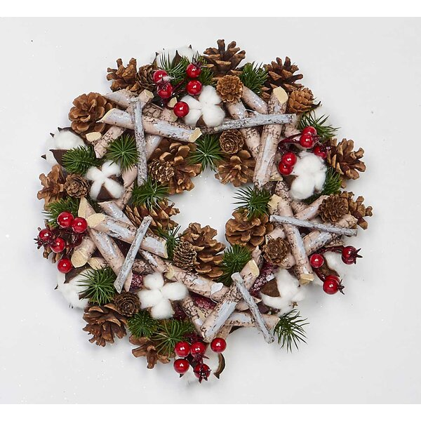 Artificial Birch Log 12 Styrofoam Wreath by The Holiday Aisle