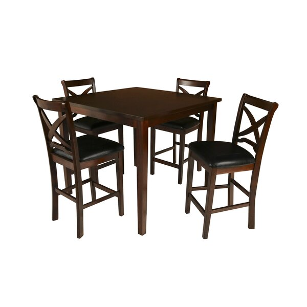 Hohl 5 Piece Counter Height Solid Wood Dining Set by Charlton Home