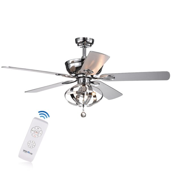 52 Davies 5 Blade Ceiling Fan with Remote by House of Hampton