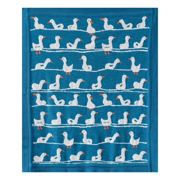 Ellington Circle Ducks Cotton Blanket by Harriet Bee
