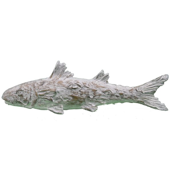 Duvall Faux Wood Asian Carved Fish Figurine by Highland Dunes