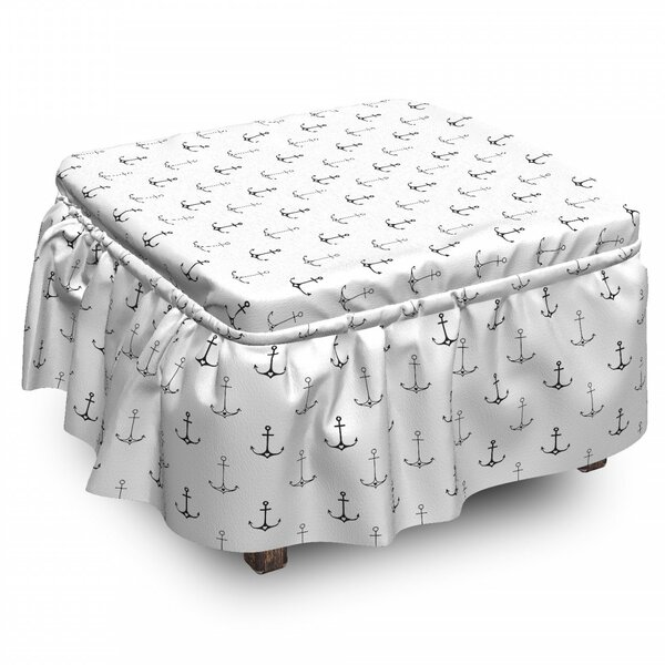 Anchor Hipster Little Hearts 2 Piece Box Cushion Ottoman Slipcover Set By East Urban Home