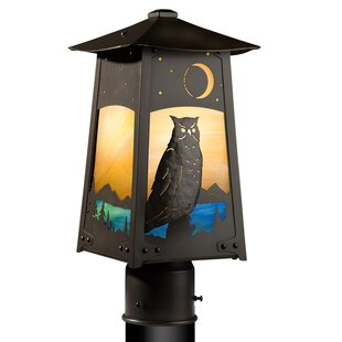 Compare prices Devaughn Great Horned Owl 1-Light Post Light By August Grove
