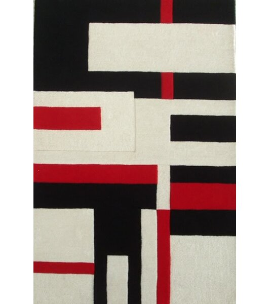 Modern Cool Red/White Area Rug by Acura Rugs