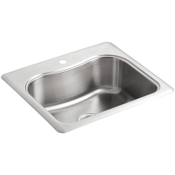 Staccato 25 L x 22 W x 8-5/16 Top-Mount Single-Bowl Kitchen Sink with Single Faucet Hole by Kohler