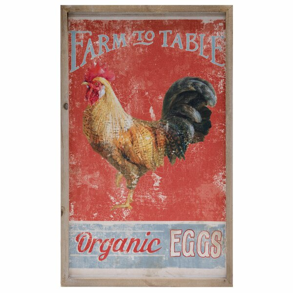 Organic Eggs Framed Vintage Advertisement on Canvas by August Grove