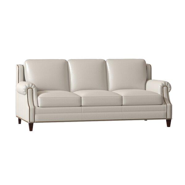 Houck Genuine Leather 86.5 Rolled Arm Sofa