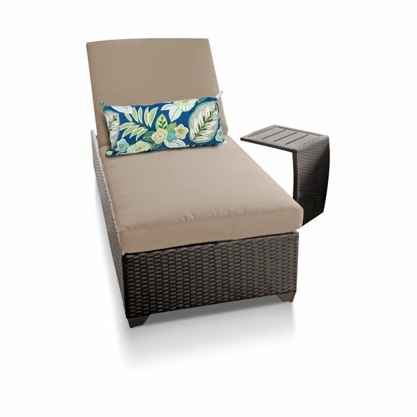 Classic Reclining Chaise Lounge with Cushion and Table by TK Classics