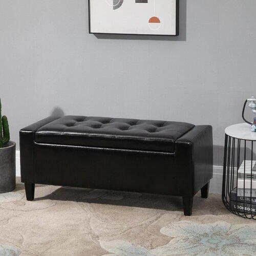 Vikki Upholstered Storage Bench Rosalind Wheeler