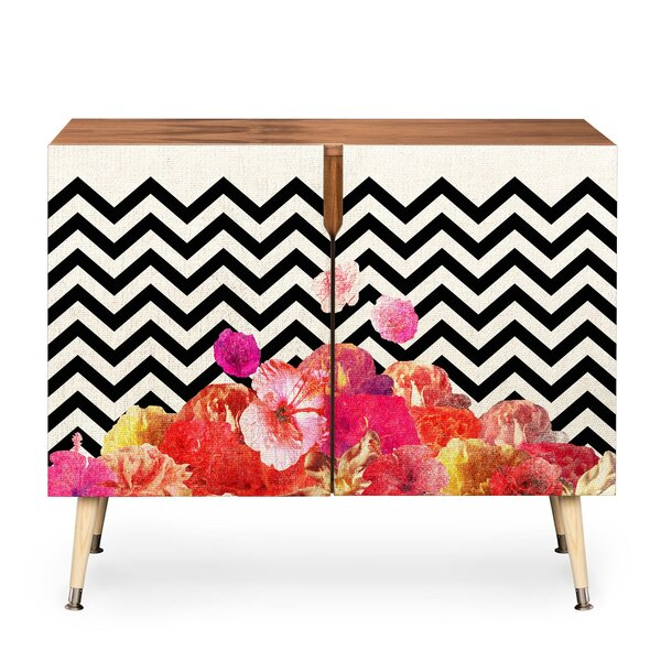 Chevron Floral 2 Door Accent Cabinet by East Urban Home