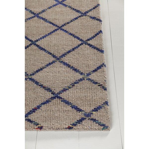 Yoshioka Hand-Knotted Beige/Blue Area Rug by Brayden Studio