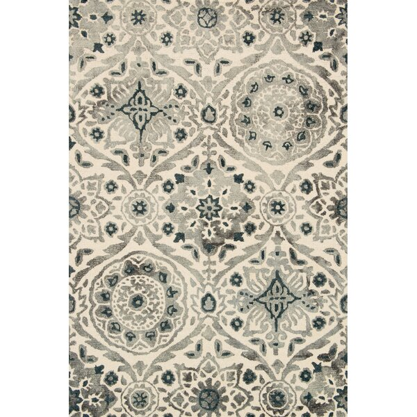 Kirsch Hand-Hooked Slate Area Rug by Charlton Home