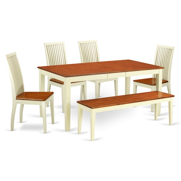 Cleobury 6 Piece Solid Wood Dining Set by August Grove