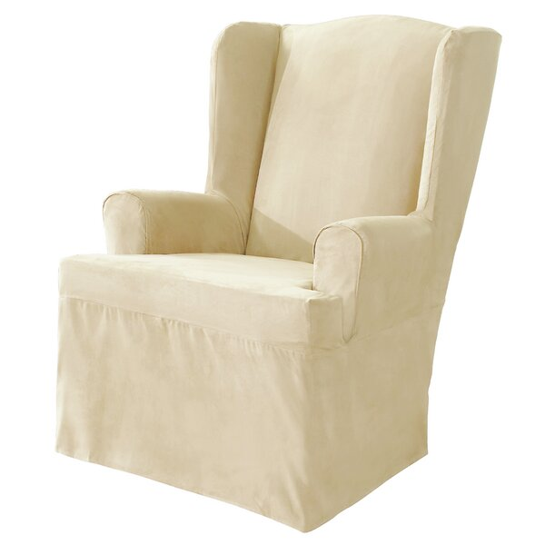 sure fit soft suede t cushion wingback slipcover reviews wayfair - Wing Chair Slipcover